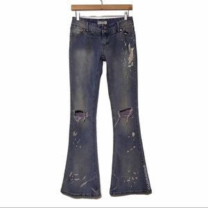 Free People Galaxy Destroyed 5 Pocket Flared Jeans